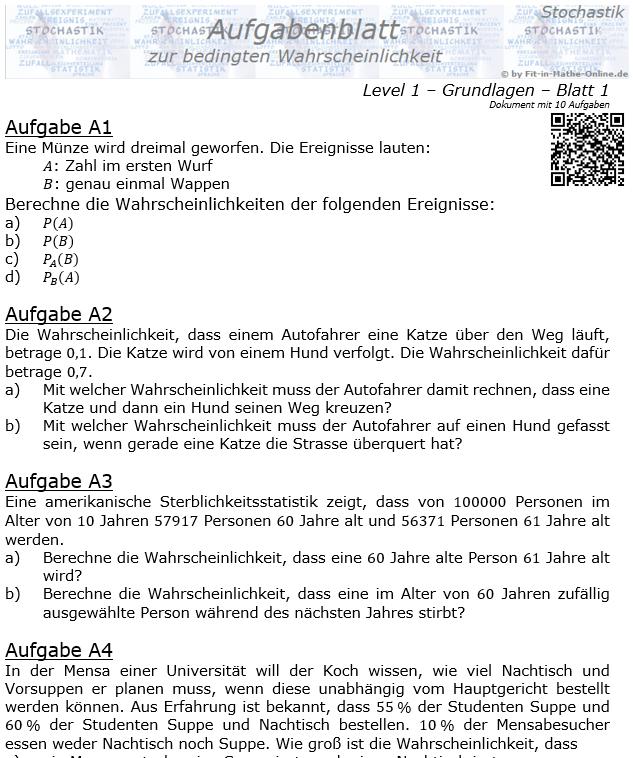 Bedingte Wahrscheinlichkeit Aufgabenblatt Level 1 / Blatt 1