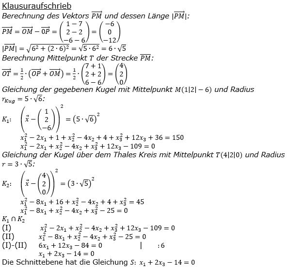 Kreis und Kugel Lösungen zum Aufgabensatz 1 Blatt 3/1 Expert Bild 3/© by www.fit-in-mathe-online.de