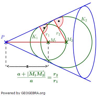 Bestimme den Punkt P (siehe Grafik) des gemeinsamen Tangentialkegels der beiden Kugeln K1 und K2. (Analytische Geometrie Kreis und Kugel Aufgabensatz 3 Expert Blatt 3/1/© by www.fit-in-mathe-online.de)