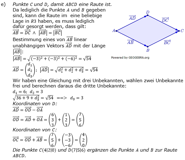 Vektorgeometrie Vermischte Aufgaben - Training Lösungen zum Aufgabensatz 01 Blatt 01 Bild A0101L04/© by www.fit-in-mathe-online.de