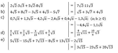 Wurzeln Addition und Subtraktion Lösungen zum Aufgabensatz 3 Blatt 1/1 Grundlagen/© by www.fit-in-mathe-online.de