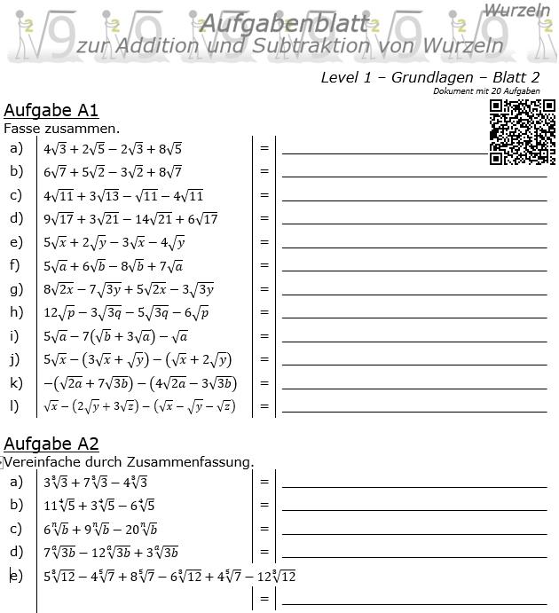 Wurzel Addition und Subtraktion Aufgabenblatt 01 Grundlagen 1/2 / © by Fit-in-Mathe-Online.de
