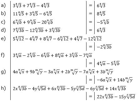 Wurzeln Addition und Subtraktion Lösungen zum Aufgabensatz 2 Blatt 1/2 Grundlagen/© by www.fit-in-mathe-online.de