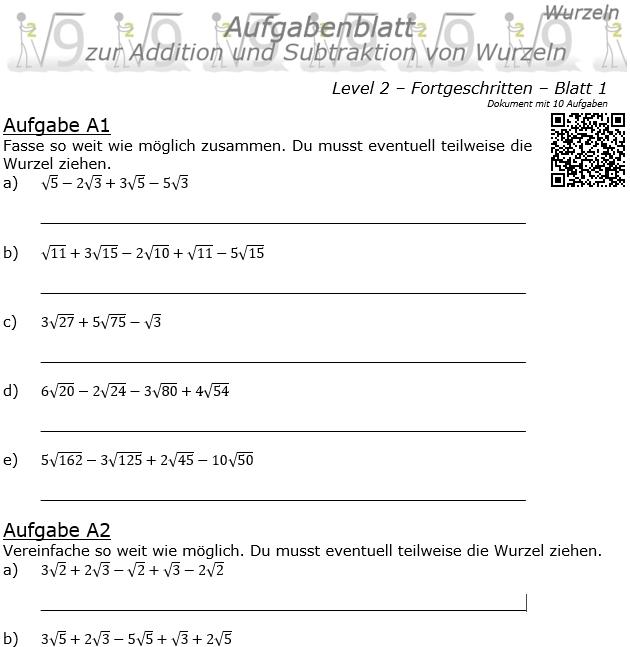 Wurzel Addition und Subtraktion Aufgabenblatt 01 Fortgeschritten 2/1 / © by Fit-in-Mathe-Online.de