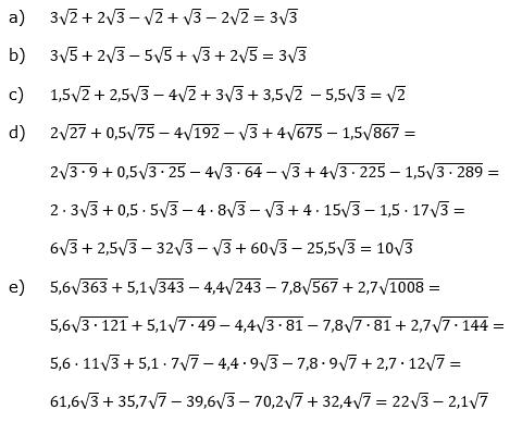 Wurzeln Addition und Subtraktion Lösungen zum Aufgabensatz 2 Blatt 2/1 Fortgeschritten/© by www.fit-in-mathe-online.de