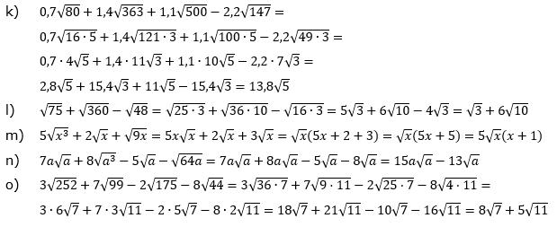 Wurzeln Addition und Subtraktion Lösungen zum Aufgabensatz 1 Blatt 2/2 Fortgeschritten Bild 2/© by www.fit-in-mathe-online.de
