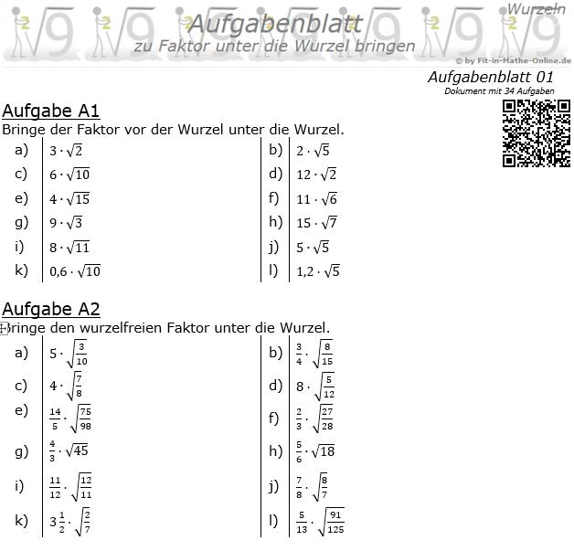 Faktor unter die Wurzel bringen Aufgabenblatt 1 / © by Fit-in-Mathe-Online.de