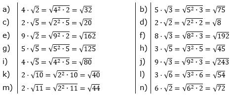 Faktor unter die Wurzel bringen Lösungen zum Aufgabensatz 1 Blatt 02/© by www.fit-in-mathe-online.de