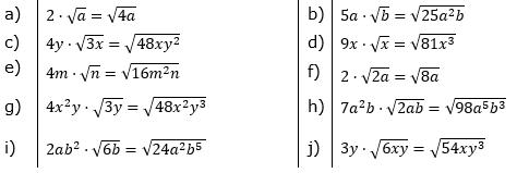 Faktor unter die Wurzel bringen Lösungen zum Aufgabensatz 2 Blatt 02/© by www.fit-in-mathe-online.de