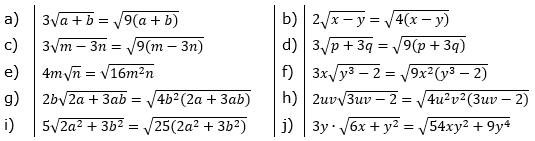Faktor unter die Wurzel bringen Lösungen zum Aufgabensatz 3 Blatt 02/© by www.fit-in-mathe-online.de