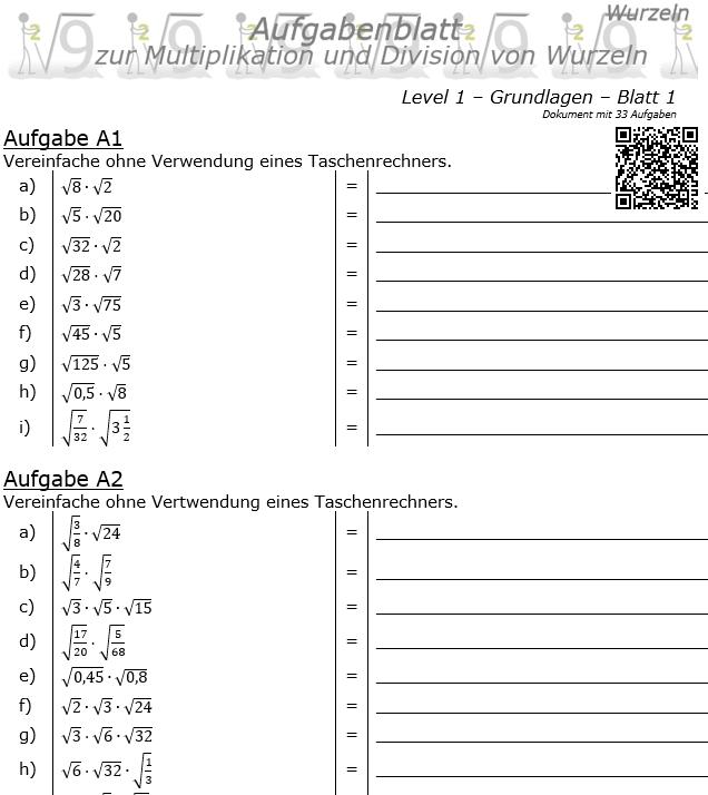 Wurzel Multiplikation und Division Aufgabenblatt 01 Grundlagen 1/1 / © by Fit-in-Mathe-Online.de