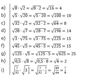 Wurzeln Multiplikation undf Division Lösungen zum Aufgabensatz 1 Blatt 1/1 Grundlagen/© by www.fit-in-mathe-online.de