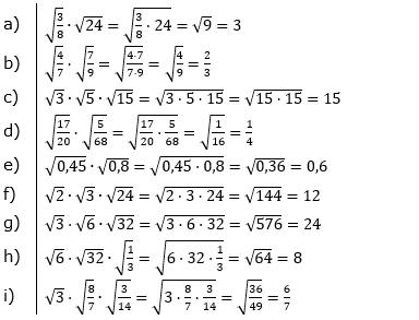 Wurzeln Multiplikation undf Division Lösungen zum Aufgabensatz 2 Blatt 1/1 Grundlagen/© by www.fit-in-mathe-online.de