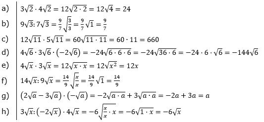 Wurzeln Multiplikation undf Division Lösungen zum Aufgabensatz 4 Blatt 1/1 Grundlagen/© by www.fit-in-mathe-online.de