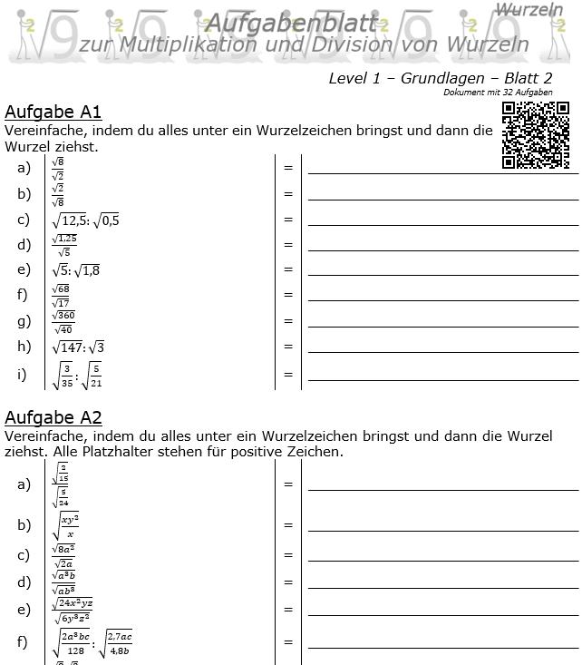 Wurzel Multiplikation und Division Aufgabenblatt 01 Grundlagen 1/2 / © by Fit-in-Mathe-Online.de