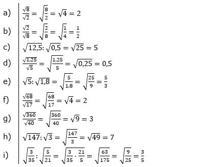 Wurzeln Multiplikation undf Division Lösungen zum Aufgabensatz 1 Blatt 1/2 Grundlagen/© by www.fit-in-mathe-online.de