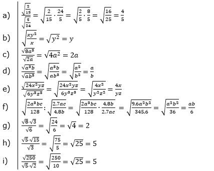 Wurzeln Multiplikation undf Division Lösungen zum Aufgabensatz 2 Blatt 1/2 Grundlagen/© by www.fit-in-mathe-online.de