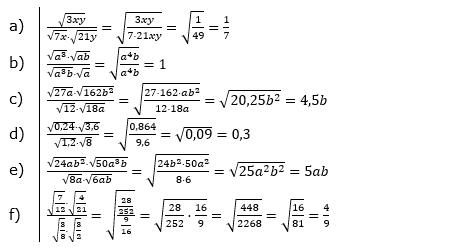 Wurzeln Multiplikation undf Division Lösungen zum Aufgabensatz 3 Blatt 1/2 Grundlagen/© by www.fit-in-mathe-online.de