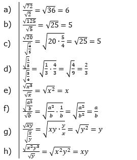 Wurzeln Multiplikation undf Division Lösungen zum Aufgabensatz 4 Blatt 1/2 Grundlagen/© by www.fit-in-mathe-online.de