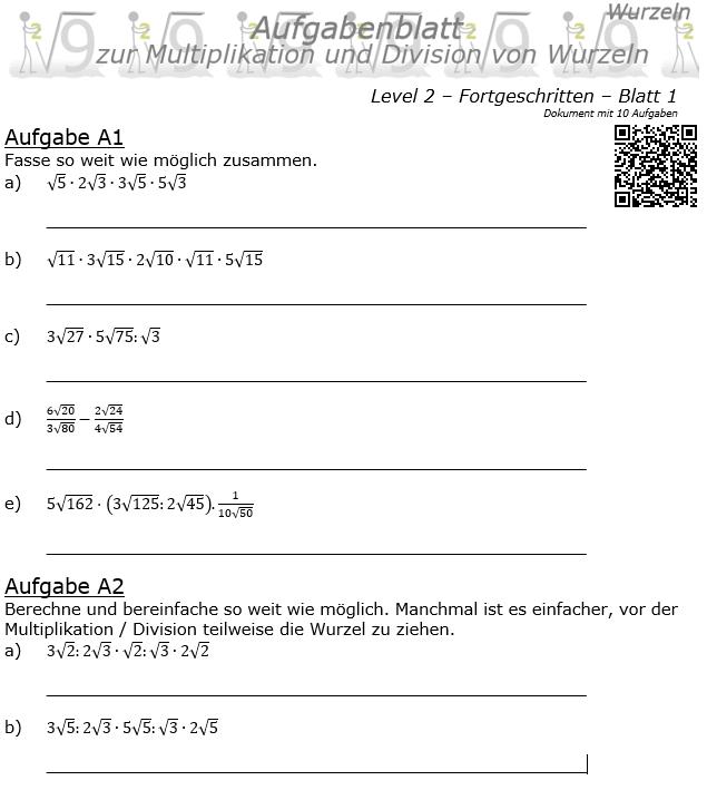 Wurzel Multiplikation und Division Aufgabenblatt 01 Fortgeschritten 2/1 / © by Fit-in-Mathe-Online.de