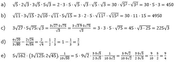 Wurzeln Multiplikation undf Division Lösungen zum Aufgabensatz 1 Blatt 2/1 Fortgeschritten/© by www.fit-in-mathe-online.de
