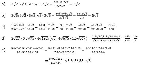 Wurzeln Multiplikation undf Division Lösungen zum Aufgabensatz 2 Blatt 2/1 Fortgeschritten/© by www.fit-in-mathe-online.de