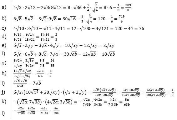 Wurzeln Multiplikation und Division Lösungen zum Aufgabensatz 1 Blatt 2/3 Fortgeschritten/© by www.fit-in-mathe-online.de
