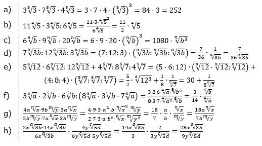 Wurzeln Multiplikation und Division Lösungen zum Aufgabensatz 2 Blatt 2/3 Fortgeschritten/© by www.fit-in-mathe-online.de