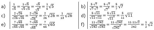 Wurzeln - Nenner rational machen Lösungen zum Aufgabensatz 1 Blatt 01/© by www.fit-in-mathe-online.de