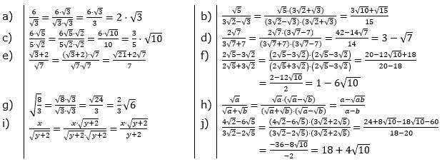 Wurzeln - Nenner rational machen Lösungen zum Aufgabensatz 4 Blatt 01/© by www.fit-in-mathe-online.de