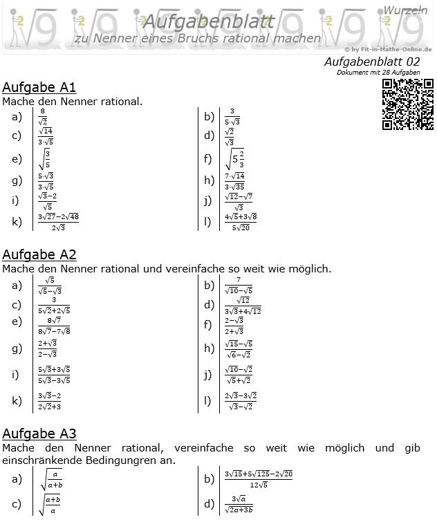 Wurzeln im Nenner rational machen Aufgabenblatt 2 / © by Fit-in-Mathe-Online.de
