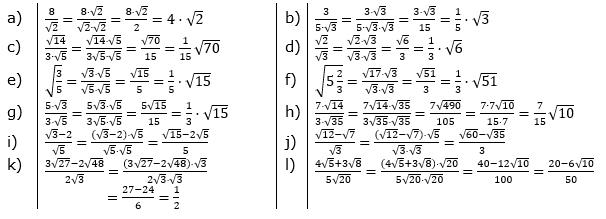 Wurzeln - Nenner rational machen Lösungen zum Aufgabensatz 1 Blatt 02/© by www.fit-in-mathe-online.de