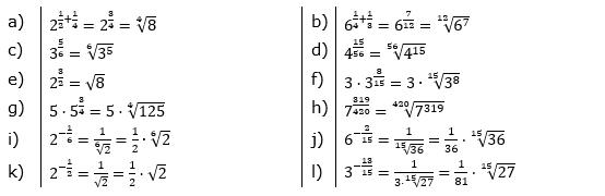 Potenzdarstellung von Wurzeln Lösungen zum Aufgabensatz 1 Blatt 02/© by www.fit-in-mathe-online.de