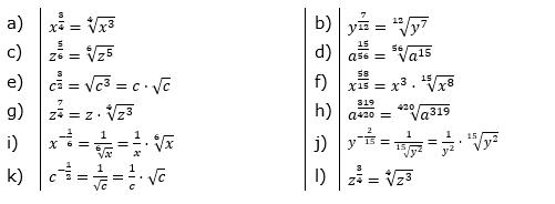 Potenzdarstellung von Wurzeln Lösungen zum Aufgabensatz 2 Blatt 02/© by www.fit-in-mathe-online.de