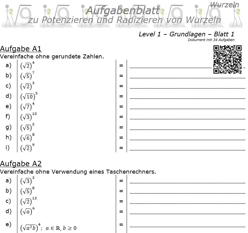 Wurzel Potenzitrn und Radizieren Aufgabenblatt 01 Grundlagen 1/1 / © by Fit-in-Mathe-Online.de