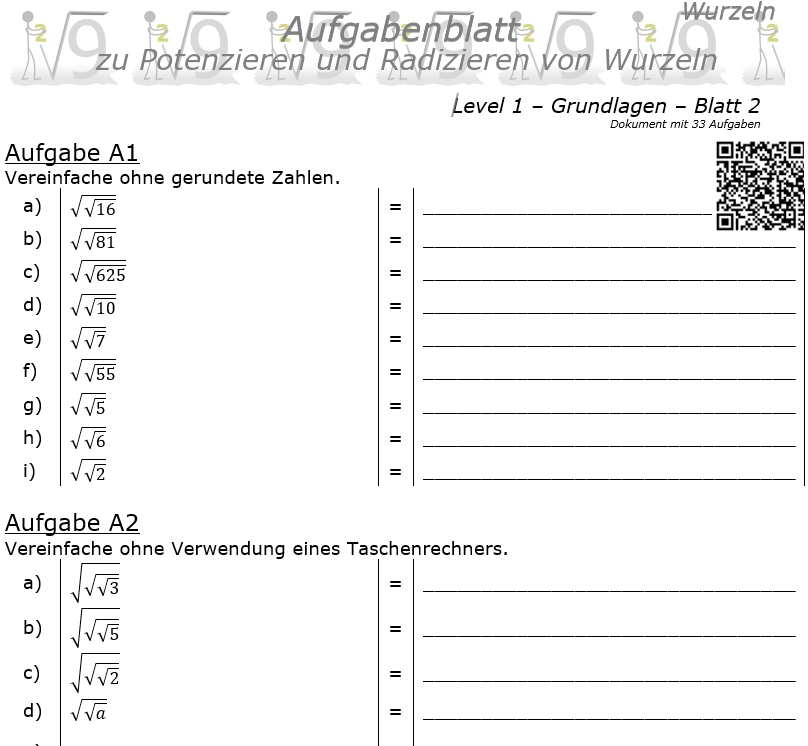 Wurzel Potenzitrn und Radizieren Aufgabenblatt 02 Grundlagen 1/2 / © by Fit-in-Mathe-Online.de
