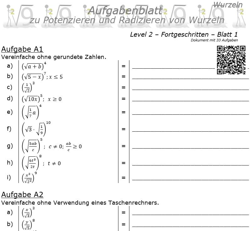 Wurzel Potenzieren und Radizieren Aufgabenblatt 01 Fortgeschritten 2/1 / © by Fit-in-Mathe-Online.de