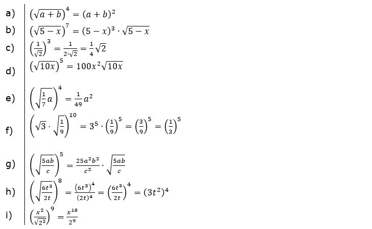 Wurzeln Potenzieren und Radizieren Lösungen zum Aufgabensatz 1 Blatt 2/1 Fortgeschritten/© by www.fit-in-mathe-online.de