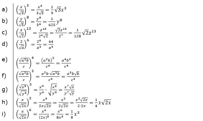 Wurzeln Potenzieren und Radizieren Lösungen zum Aufgabensatz 2 Blatt 2/1 Fortgeschritten/© by www.fit-in-mathe-online.de