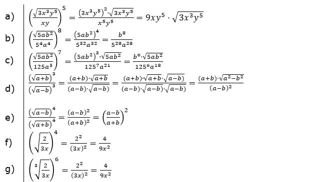 Wurzeln Potenzieren und Radizieren Lösungen zum Aufgabensatz 3 Blatt 2/1 Fortgeschritten/© by www.fit-in-mathe-online.de