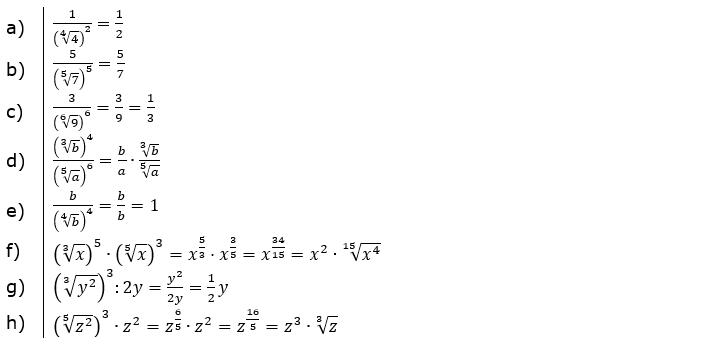 Wurzeln Potenzieren und Radizieren Lösungen zum Aufgabensatz 4 Blatt 2/1 Fortgeschritten/© by www.fit-in-mathe-online.de