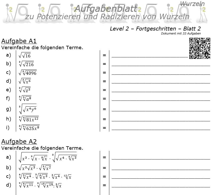Wurzel Potenzieren und Radizieren Aufgabenblatt 02 Fortgeschritten 2/2 / © by Fit-in-Mathe-Online.de