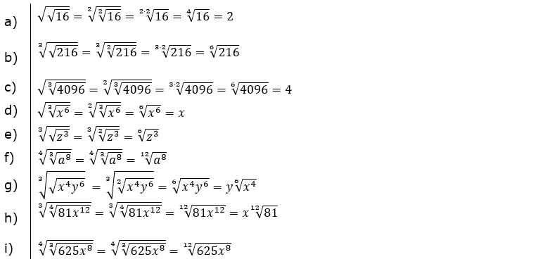 Wurzeln Potenzieren und Radizieren Lösungen zum Aufgabensatz 1 Blatt 2/2 Fortgeschritten/© by www.fit-in-mathe-online.de
