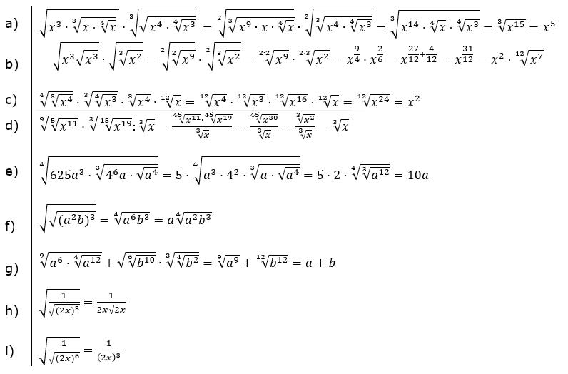 Wurzeln Potenzieren und Radizieren Lösungen zum Aufgabensatz 2 Blatt 2/2 Fortgeschritten/© by www.fit-in-mathe-online.de