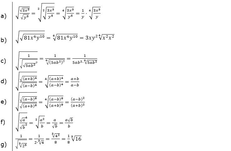 Wurzeln Potenzieren und Radizieren Lösungen zum Aufgabensatz 3 Blatt 2/2 Fortgeschritten/© by www.fit-in-mathe-online.de