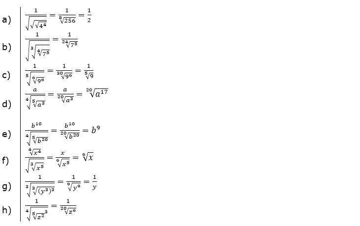 Wurzeln Potenzieren und Radizieren Lösungen zum Aufgabensatz 4 Blatt 2/2 Fortgeschritten/© by www.fit-in-mathe-online.de