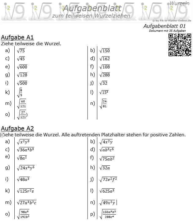 Teilweises Wurzelziehen Aufgabenblatt 1 / © by Fit-in-Mathe-Online.de