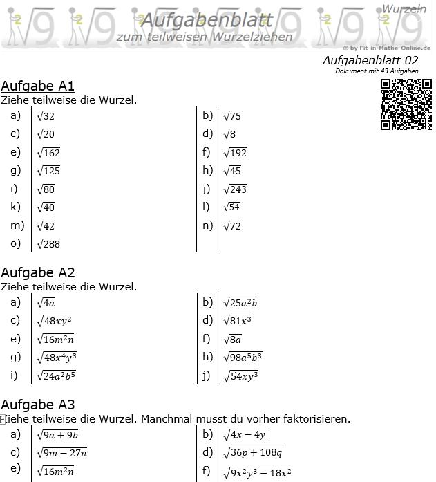 Teilweises Wurzelziehen Aufgabenblatt 2 / © by Fit-in-Mathe-Online.de