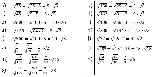 Teilweises Wurzelziehen Lösungen zum Aufgabensatz 1 Blatt 01/© by www.fit-in-mathe-online.de