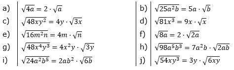 Teilweises Wurzelziehen Lösungen zum Aufgabensatz 2 Blatt 02/© by www.fit-in-mathe-online.de